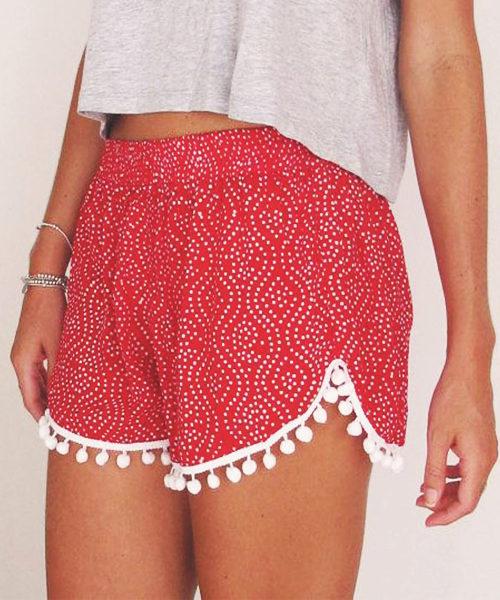 Bohemian Pom Pom Elastic Shorts (3)