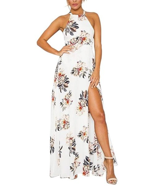 Cutout Waist Printed Sleeveless Maxi 1